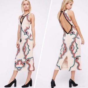 Free People Far Out Beaded Holiday Midi Dress S